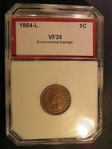 1864 L INDIAN HEAD PENNY VF HOLDER