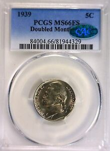 Click now to see the BUY IT NOW Price! 1939 DOUBLED MONTICELLO JEFFERSON NICKEL PCGS MS 66FS CAC FINEST CAC'D FS