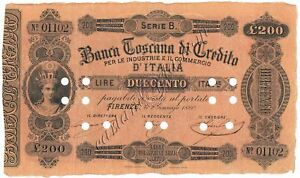 Click now to see the BUY IT NOW Price! 200 LIRE BANCA TOSCANA DI CREDITO FIRENZE II TIPO 02/01/1880 BB