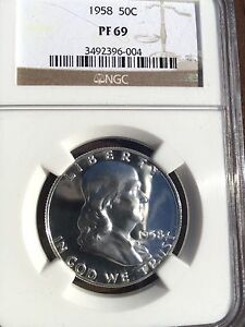 Click now to see the BUY IT NOW Price! 1958  FRANKLIN NGC PF69 GEM  GREAT EYE APPEAL