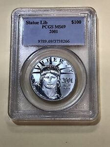 Click now to see the BUY IT NOW Price! 2001 $100 1 OZ. REVERSE PROOF PLATINUM COIN AMERICAN EAGLE PCGS MS69
