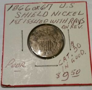 1867 OR 66 SHIELD NICKEL NO RAYS