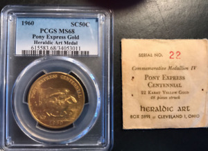 Click now to see the BUY IT NOW Price! 1960 PONY EXPRESS 22K GOLD MEDAL   HERALDIC ART  PCGS MS68 SERIAL 22.  MINTAGE