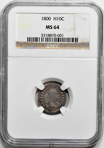 Click now to see the BUY IT NOW Price! 1800 DRAPED BUST H10C NGC MS 64