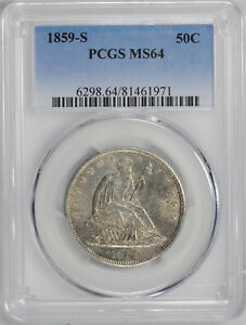 Click now to see the BUY IT NOW Price! 1859 S LIBERTY SEATED 50C PCGS MS 64