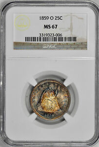 1859 O LIBERTY SEATED 25C NGC MS 67