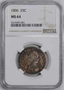 Click now to see the BUY IT NOW Price! 1806 DRAPED BUST 25C NGC MS 64