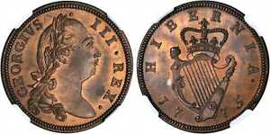 Click now to see the BUY IT NOW Price! IRELAND 1775 CU 1/2 PENNY NGC PR65RB KM 140; S 6614 THICK FLAN INVERTED AXIS