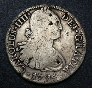 1794 F.M MEXICO PILLAR 8 REALE XF KING BUST CHARLES IIII  CHOP MARKED COIN