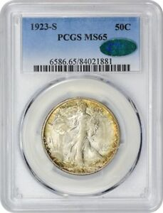 Click now to see the BUY IT NOW Price! 1923 S WALKING LIBERTY HALF DOLLAR.  PCGS GRADED MS65 CAC.
