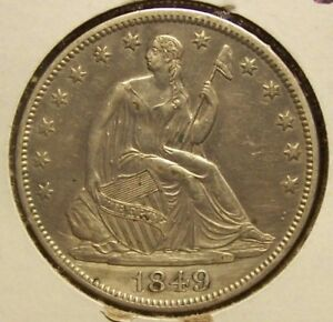 1849 SEATED LIBERTY HALF DOLLAR  ALMOST UNCIRCULATED  UNCERTIFIED
