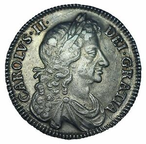 Click now to see the BUY IT NOW Price! CHARLES II HALFCROWN 1676 FOURTH DRAPED BUST V. OCTAVO ESC 478 S3367 NEF
