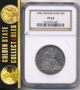 1846 PROOF  MEDIUM DATE 50C NGC PF63  POP 2 COIN WITH ONLY 6 HIGHER