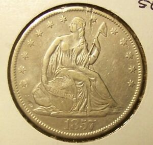 1857 O SEATED LIBERTY HALF DOLLAR   EXTRA FINE DETAILS  UNCERTIFIED