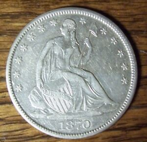 1870 S SEATED LIBERTY HALF DOLLAR   EXTRA FINE    UNCERTIFIED