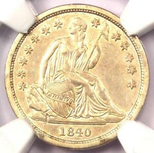 1840 SEATED LIBERTY DIME 10C NO DRAPERY   CERTIFIED NGC AU DETAILS    DATE