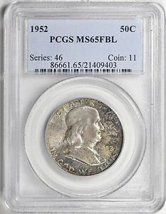 1952 FRANKLIN HALF DOLLAR PCGS MS65FBL
