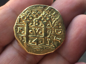 Click now to see the BUY IT NOW Price! VERY     GOLD COB 8 ESCUDOS OF PHILIP V. YEAR 1741. LIMA. V