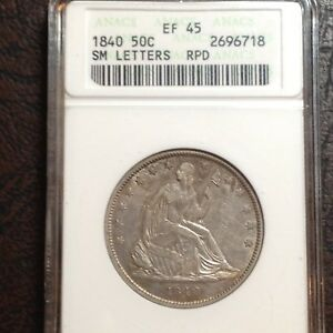 1840 50C SEATED LIBERTY HALF DOLLAR REV OF 38 SM LETTERS  XF45