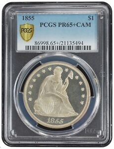 Click now to see the BUY IT NOW Price! 1855 LIBERTY SEATED DOLLAR PCGS PR 65 PLUS CAMEO