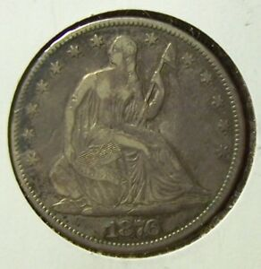 1876 SEATED LIBERTY HALF DOLLAR   FINE CONDITION  UNCERTIFIED