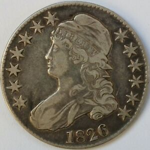 1826 CAPPED BUST HALF DOLLAR FINE    TRIPLE NOSE ERROR COIN
