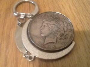 1923 UNITED STATES 900 SILVER PEACE DOLLAR $1 COIN AS KEY CHAIN