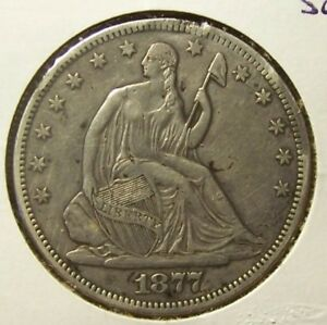 1877 CC SEATED LIBERTY HALF DOLLAR   XF DETAILS  UNCERTIFIED   RIM DAMAGE