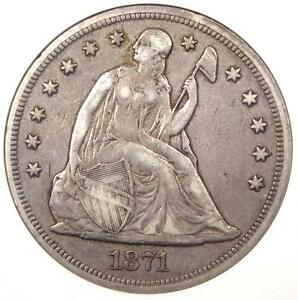 1871 SEATED LIBERTY SILVER DOLLAR $1   ANACS VF30    CERTIFIED COIN