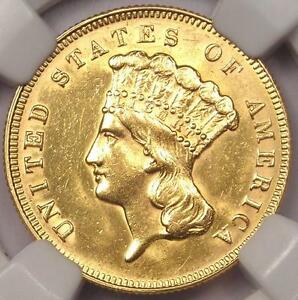 1878 THREE DOLLAR INDIAN GOLD PIECE $3   NGC UNCIRCULATED    BU MS COIN