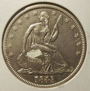 1845 SEATED LIBERTY HALF DOLLAR   ABOUT UNCIRCULATED   DETAILS  UNCERTIFIED