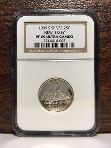1999 S SILVER NEW JERSEY QUARTER PF 69 NGC