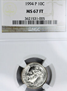 REGISTRY QUALITY 1994 P MS67 FT ROOSEVELT DIME 10C GRADED BY NGC FULL TORCH FB