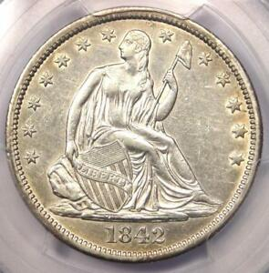1842 SEATED LIBERTY HALF DOLLAR 50C   CERTIFIED PCGS AU DETAILS    COIN