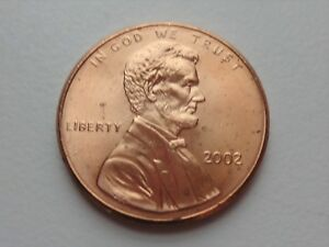 2002 P LINCOLN CENT   BU RED COIN   FROM ORIGINAL BANK WRAPPED ROLL
