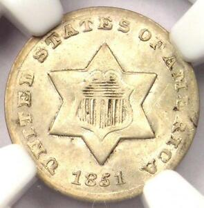 1851 O THREE CENT SILVER PIECE 3CS   NGC UNC DETAILS    BU MS CERTIFIED COIN