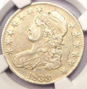 1833 CAPPED BUST HALF DOLLAR 50C   NGC AU DETAILS    CERTIFIED COIN