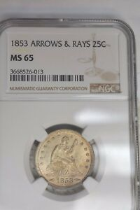 1853 25C ARROWS AND RAYS NGC MS65