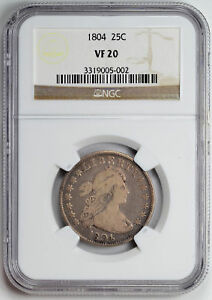 Click now to see the BUY IT NOW Price! 1804 DRAPED BUST 25C NGC VF 20