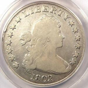 1802/1 DRAPED BUST SILVER DOLLAR $1 COIN   CERTIFIED ANACS VG8 DETAILS