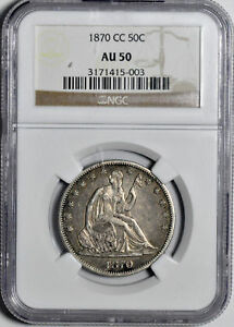Click now to see the BUY IT NOW Price! 1870 CC LIBERTY SEATED 50C NGC AU 50