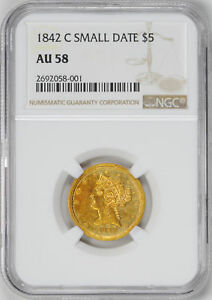 Click now to see the BUY IT NOW Price! 1842 C LIBERTY $5 NGC AU 58