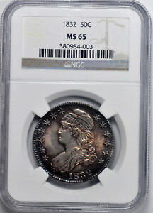 1832 CAPPED BUST 50C NGC MS 65