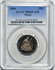1866 LIBERTY SEATED 25C PCGS PR 66 CAM