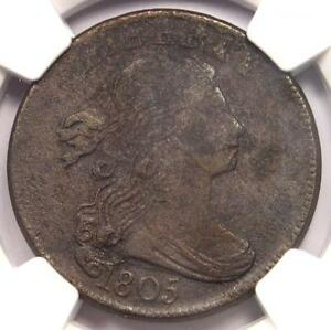 1805 DRAPED BUST LARGE CENT 1C COIN   NGC AU DETAILS     DATE IN AU