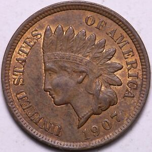 UNC 1907 INDIAN HEAD CENT PENNY K2KNT
