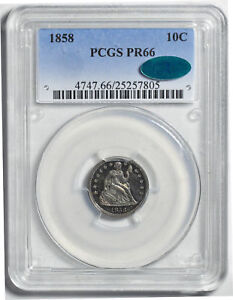 Click now to see the BUY IT NOW Price! 1858 LIBERTY SEATED 10C PCGS PR 66
