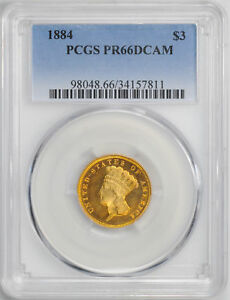 Click now to see the BUY IT NOW Price! 1884 INDIAN PRINCESS $3 PCGS PR 66 DCAM