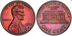 Click now to see the BUY IT NOW Price! 1992 D 1C PCGS AU58BN CLOSE AM FS 901  TONED   LINCOLN MEMORIAL CENT PENNY