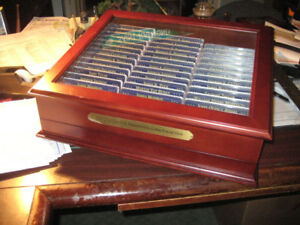 39X SETS PRESIDENTIAL DOLLARS IN LARGE CHERRYWOOD BOX. INCL. P. D. AND S. PROOFS